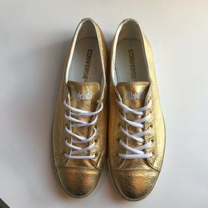 CONVERSE All Stars Metallic Gold Leather size 10